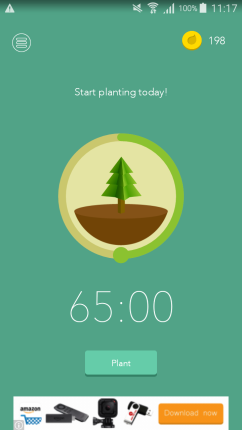 This is an example of the app screen where you can select how long you want to focus for.