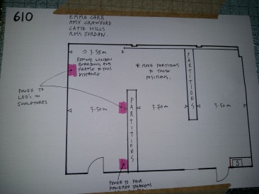The layout of my degree show space :) (I'm the rectangular space as you go in the door - exciting stuff.