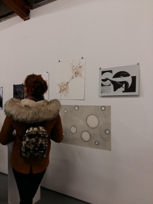 One of my pyrography drawings (top left) at the Generator Member's Show opening night